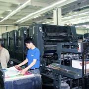 年代物のハイデルベルグ印刷機ではあるが印刷物のクオリティは素晴らしい。(精英彩色印刷有限公司)
